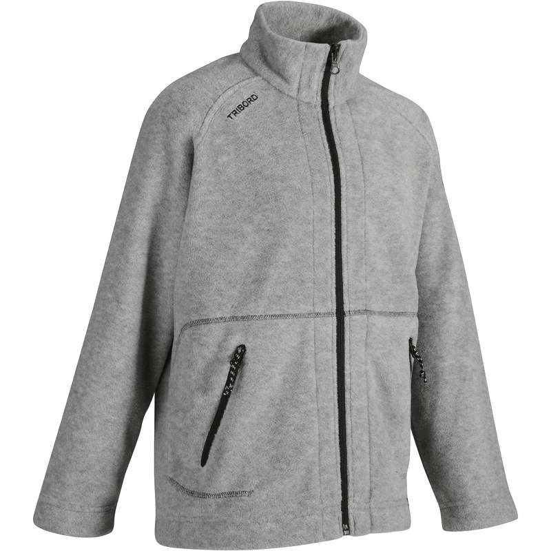 CRUISING RAINY AND COLD WEATHER JR Sailing - 100 Kids' Fleece - Grey Marl TRIBORD - Sailing Clothing