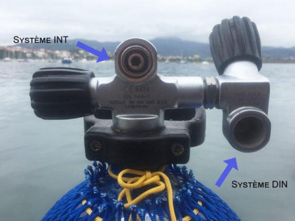 A configuração de uma garrafa de mergulho