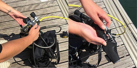 A montagem do regulador na garrafa de mergulho