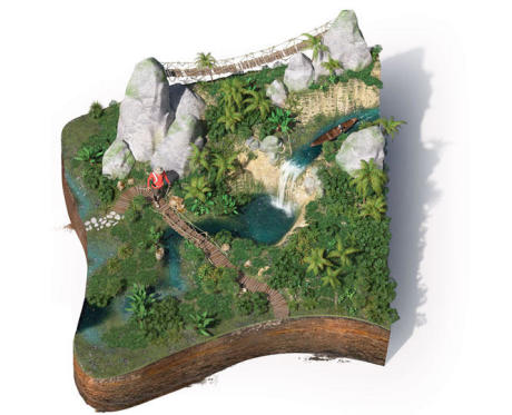 illustration 3D du trekking tropical