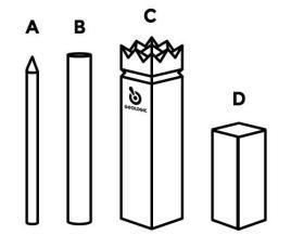 De 4 verschillende onderdelen van een spel Kubb