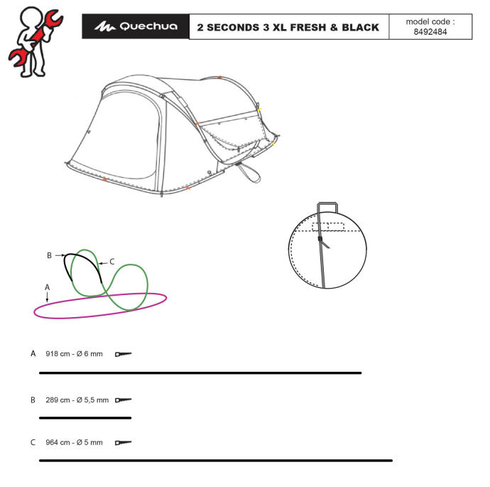 reparar-tenda-2-seconds-3-pessoas-fresh-and-black-XL-quechua-danificada