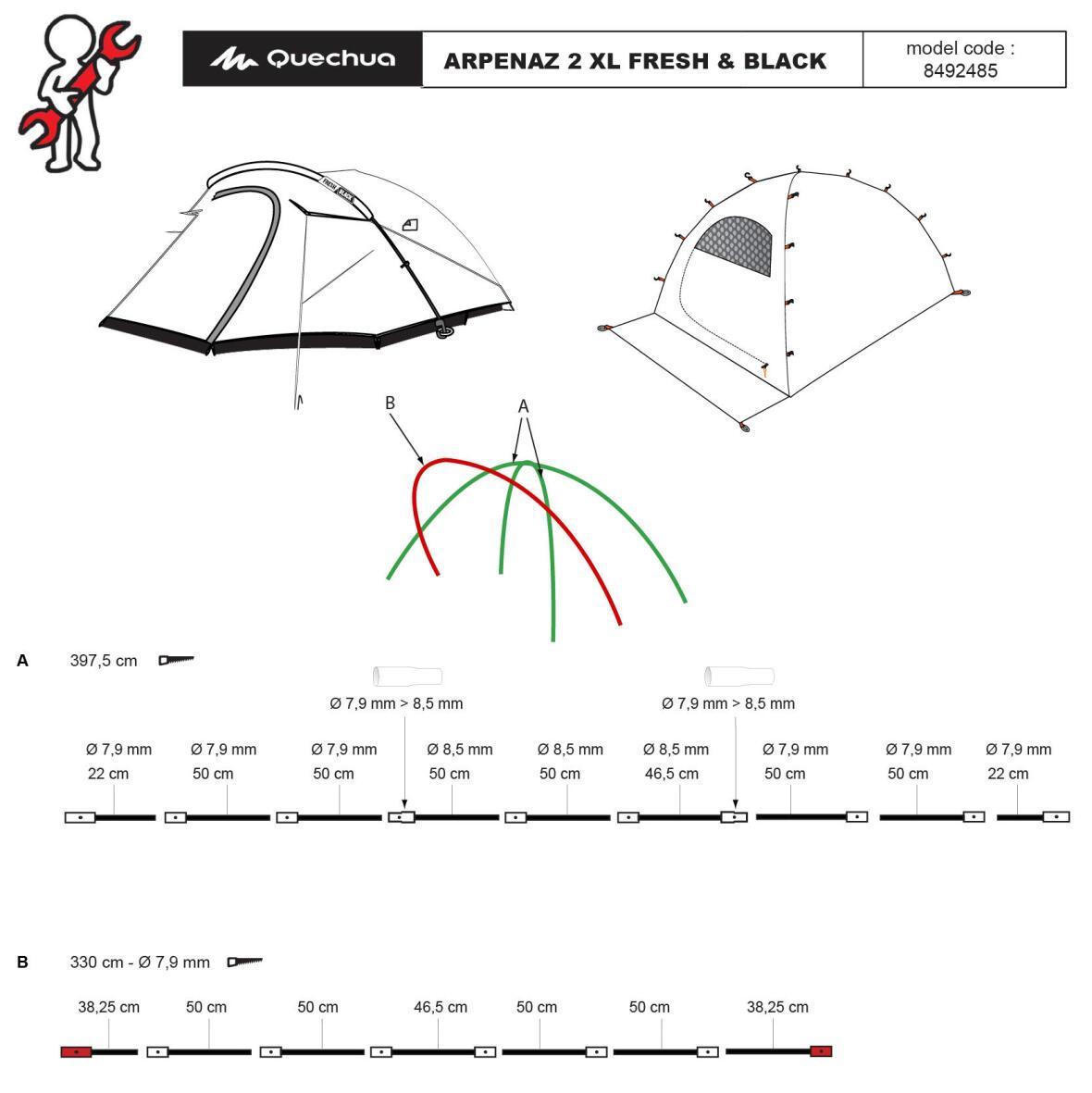 repair-tent-arpenaz-2-person-XL-fresh-and-black-quechua-broken