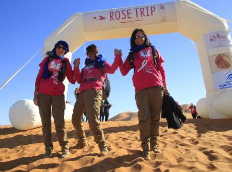 arrivée trek rose trip désert