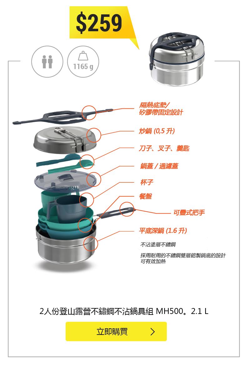 MH500 2L 露營不鏽鋼不沾鍋具組