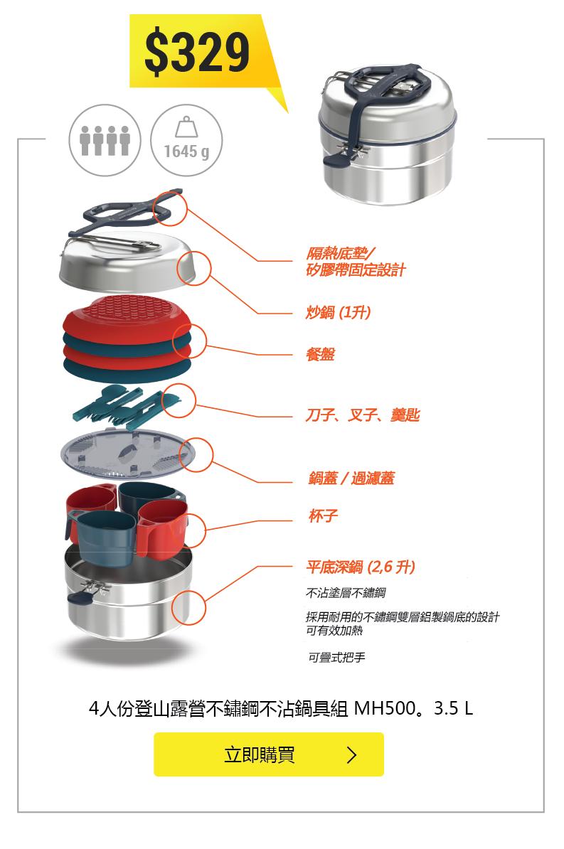 MH500 3.5L 露營不鏽鋼不沾鍋具組