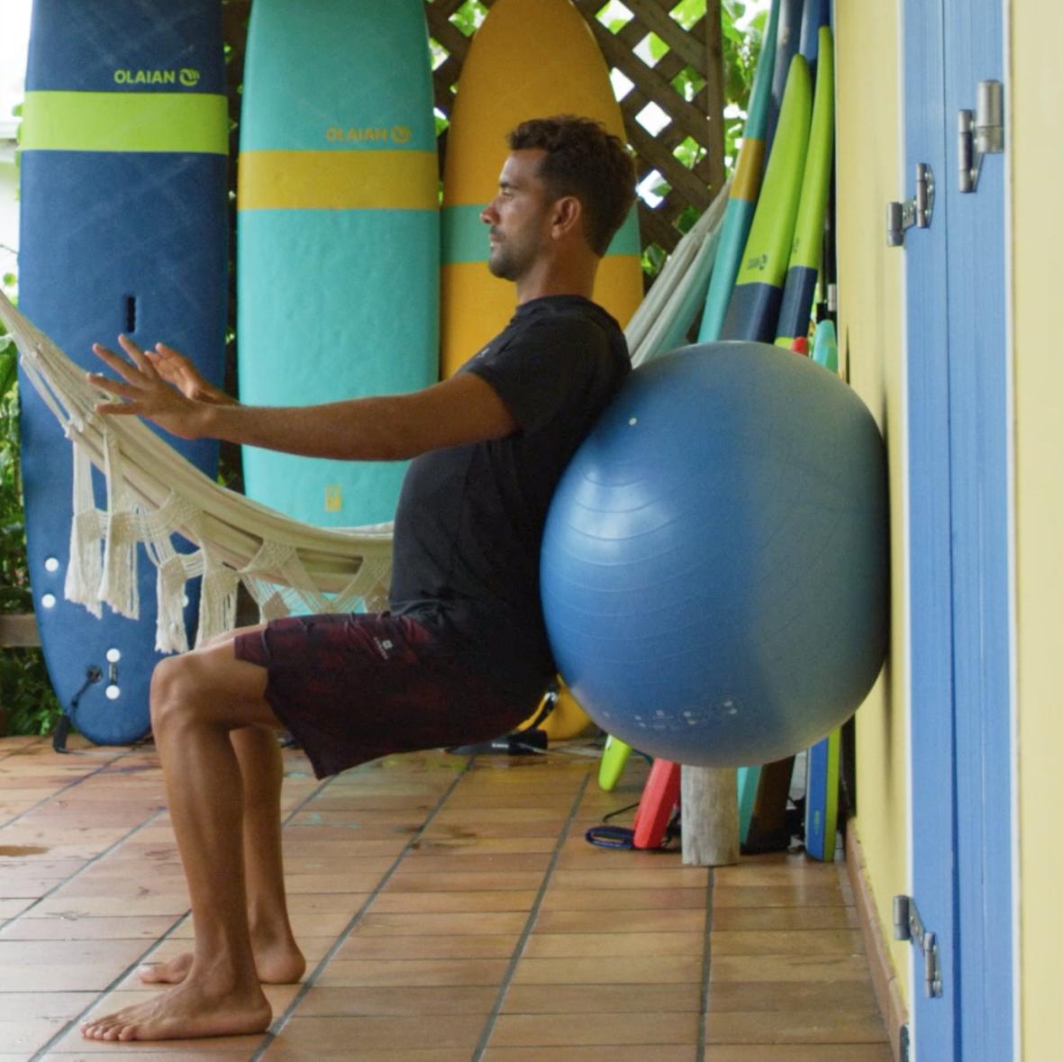preparation physique surfeur chaise squat