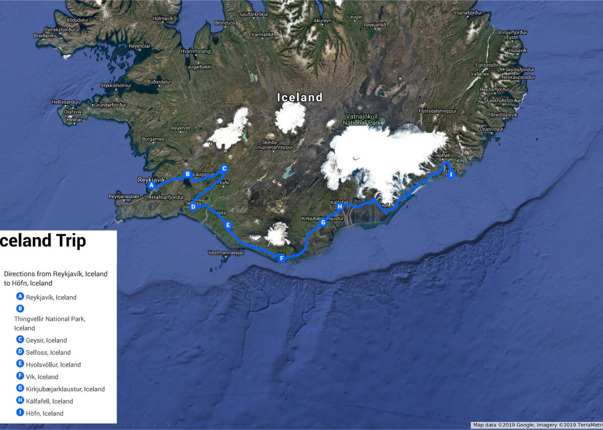 carte itinéraire voyage trekking islande