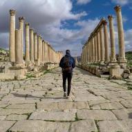 Pierre à Jerash en Jordanie