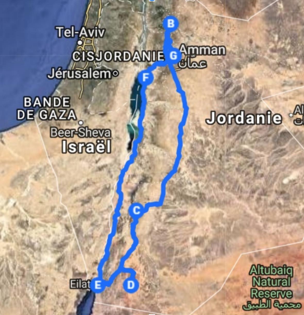 carte itinéraire voyage jordanie