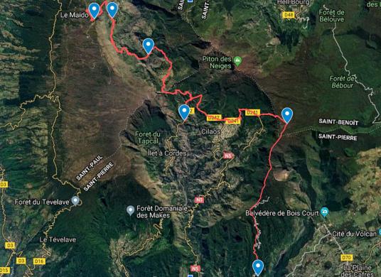 carte d'un itinéraire trek à la réunion