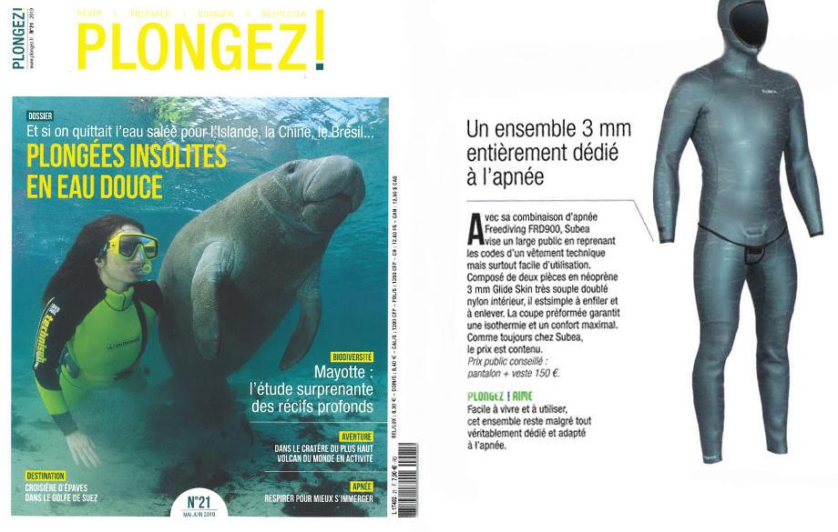 La combinaison d'apnée FRD900 dans le magazine Plongez!