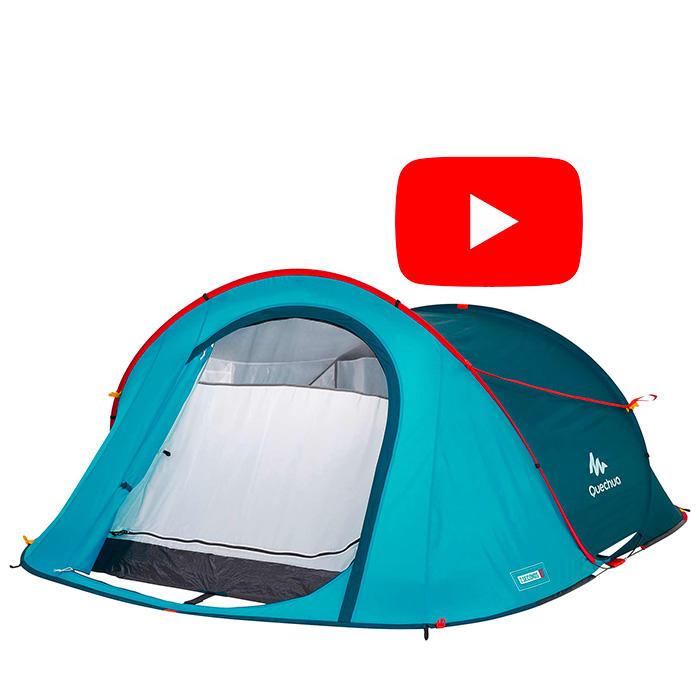 Tente de camping 2 SECONDS   2 personnes bleu