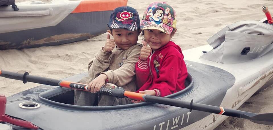 mekong trip children kayak