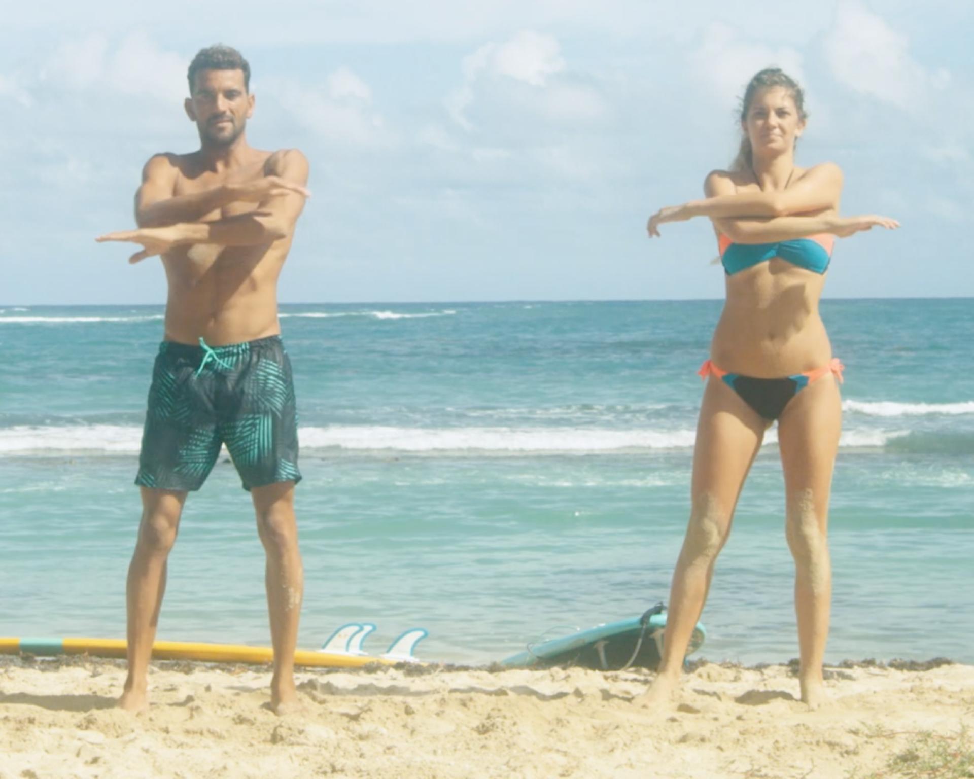 echauffement sur la plage surf