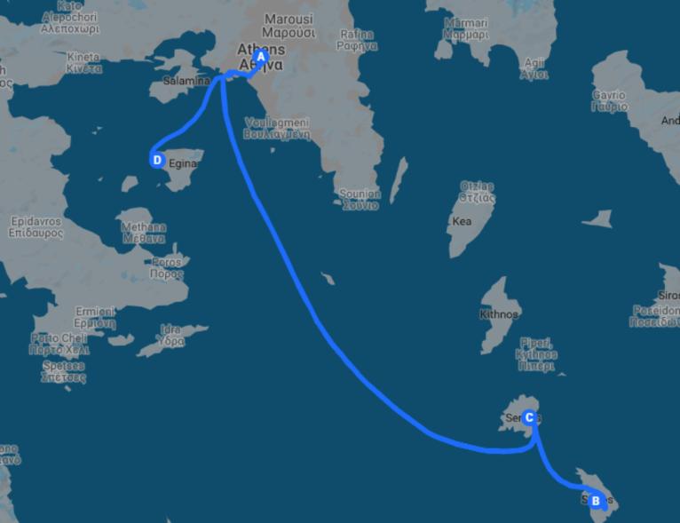 carte itinéraire de voyage dans les cyclades