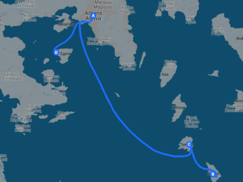 itinerary map of trip to the cyclades