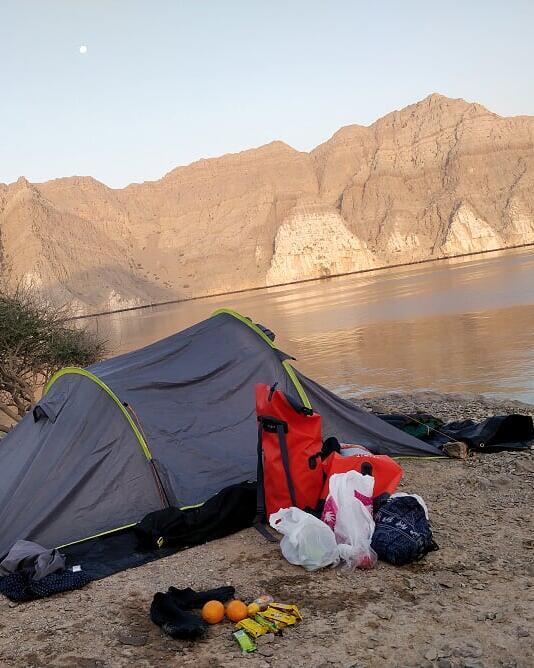 kayak trip arabian fjords bivouac