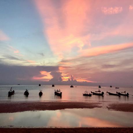 voyage en thailande, coucher de soleil sur l'ile de koh tao