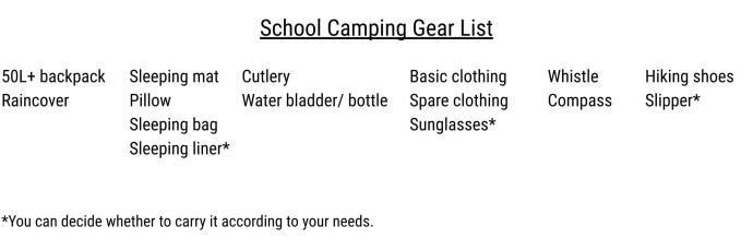 School camp gear list