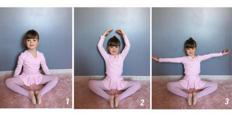 Dansoefening voor kinderen bloemhouding