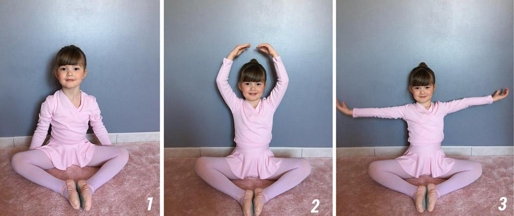Exercice danse pour enfant position de la fleur