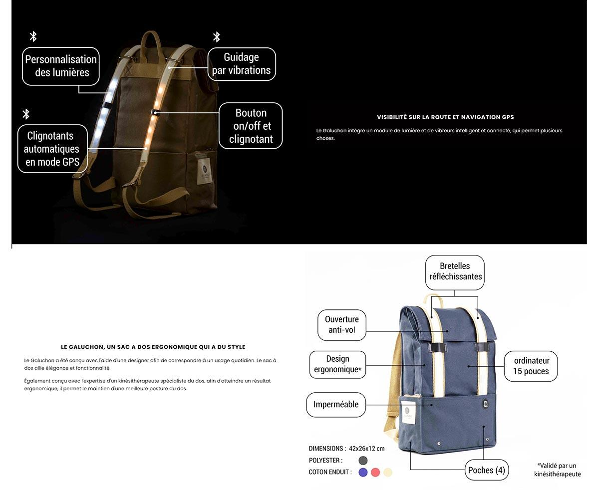 details produit galanck sac à dos connecté width=