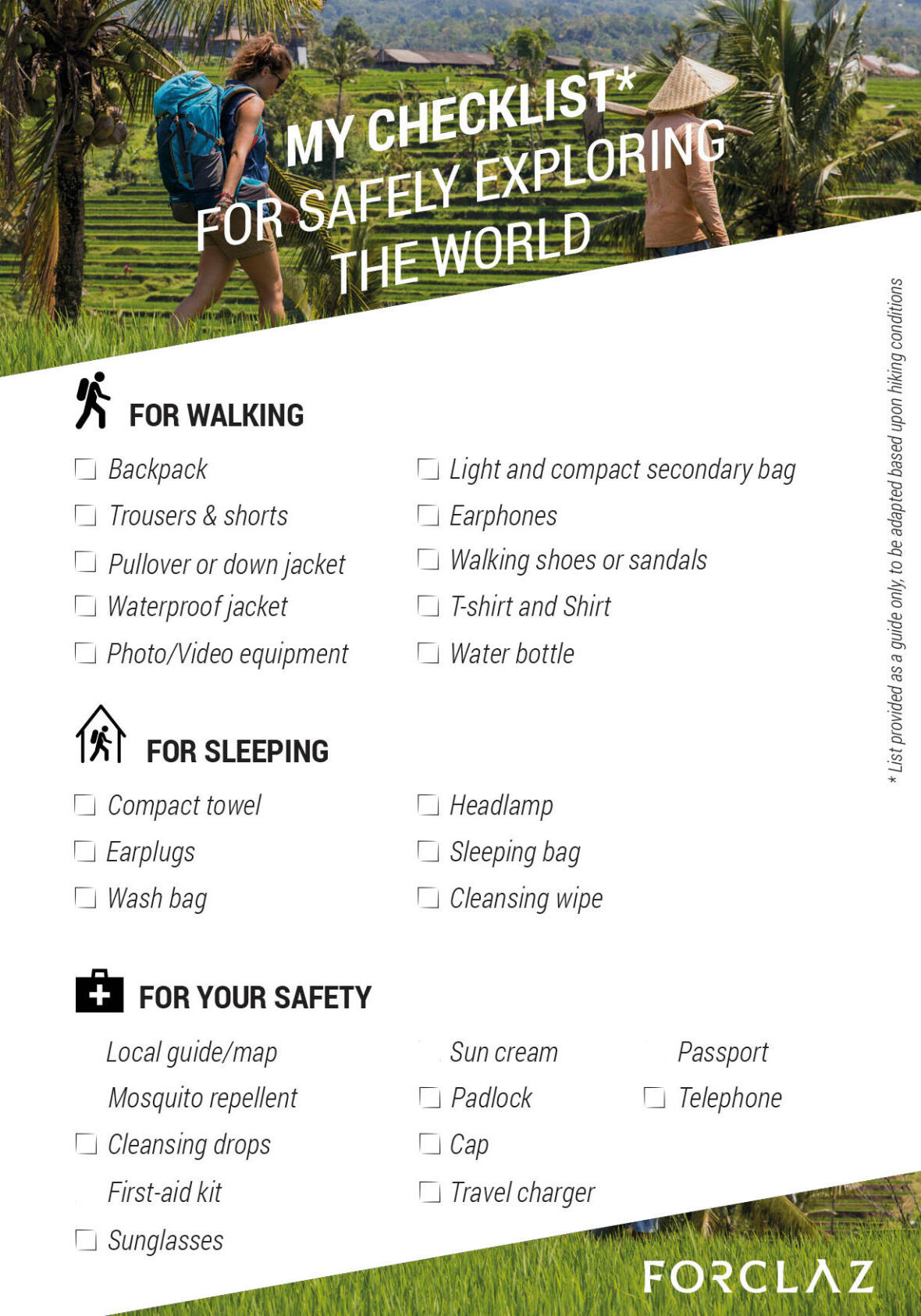 Travel in Europe checklist
