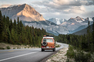 westfalia on the trans canadian highway in the rockies
