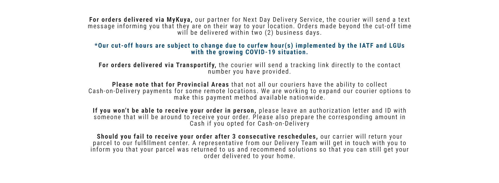 Decathlon Philippines Delivery Notices