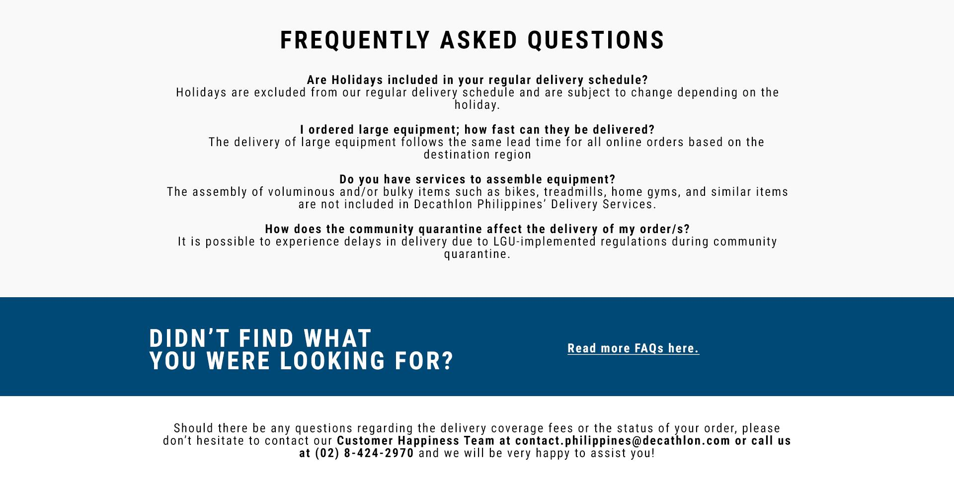 Decathlon Philippines Delivery FAQs