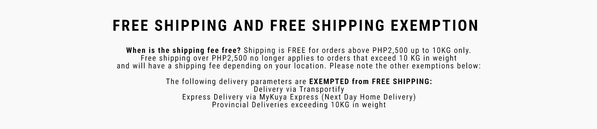 Decathlon Philippines Shipping Exemptions