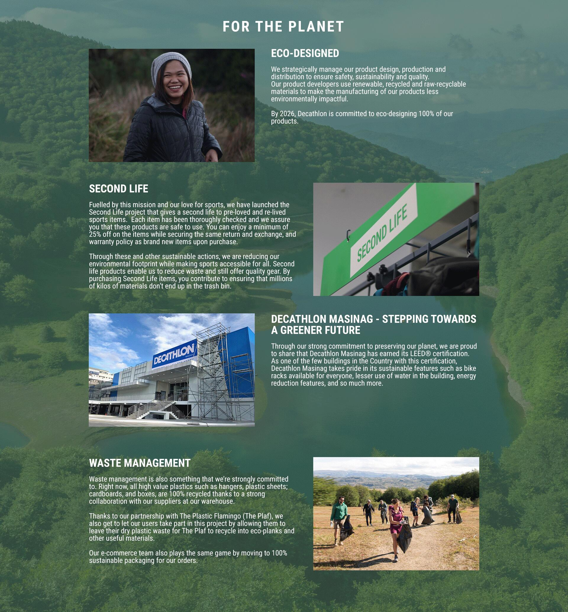 Decathlon Philippine Sustainability - For the Planet