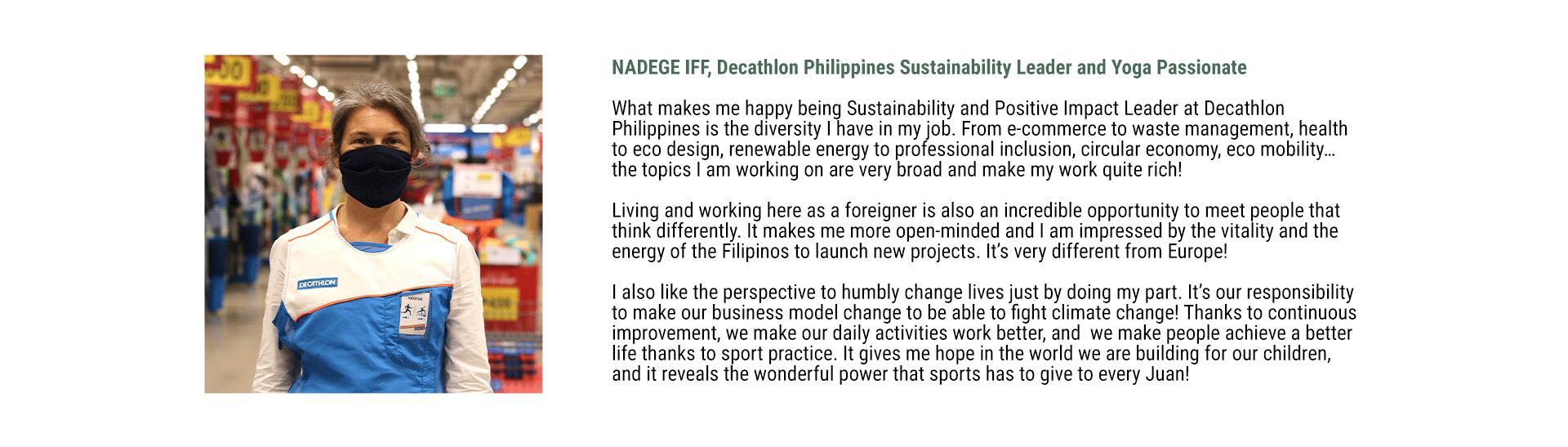Decathlon Philippines Sustainability - Nadege Iff