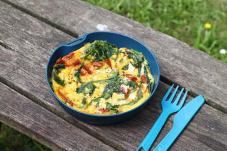 Spinach chorizo omelette